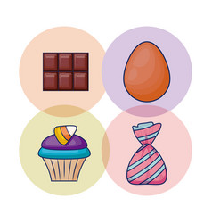 set of delicious cupcake and candies vector image