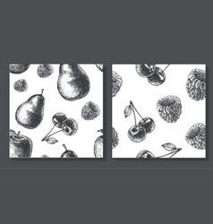 set of seamless fruit pattern food vector image