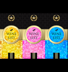 Set of wine lists template and labels with color vector
