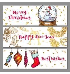 Sketch Christmas Banner Set vector