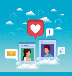 Social media couple acounts templates vector