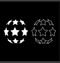 Stars in shape of soccer ball icon set white vector