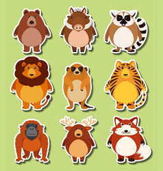 Sticker design with wild animals vector