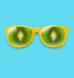 sunglasses with kiwi and mint background vector image