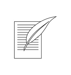 Testament letter and pen icon outline style vector