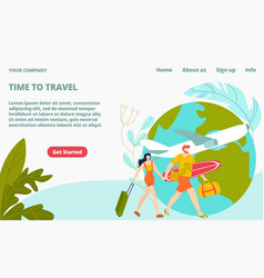 time to travel tourism landing page young people vector image