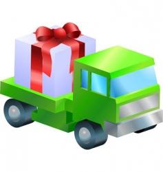 Truck gift illustration vector