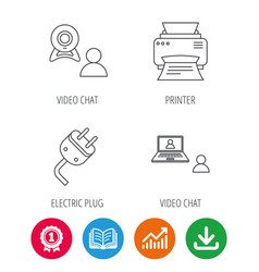 Video chat printer and electric plug icons vector
