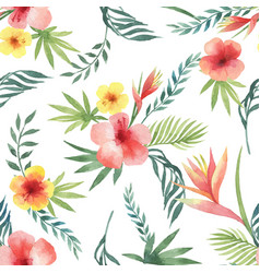 Watercolor seamless pattern of tropical leaves and vector