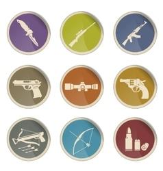 Weapon symbols icon set vector