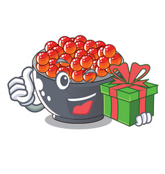 With gift salmon roe character ready to eat vector