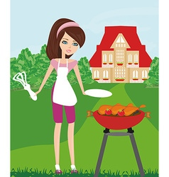 Woman cooking on a grill vector