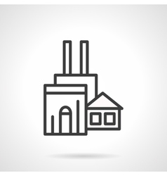 Woodworking factory black line icon vector
