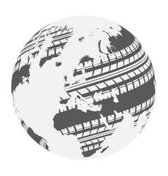 World map tire tracks vector
