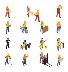 Builders Construction Workers Isometric Icons vector image