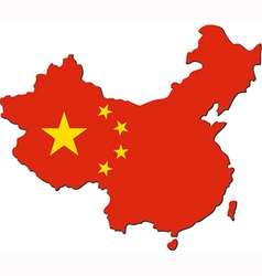 Map of China with national flag vector image vector image