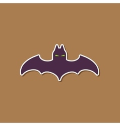 paper sticker on stylish background halloween bat vector image