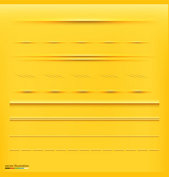 set of dividers isolated on yellow background vector image vector image