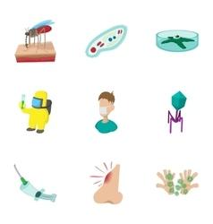 Symptoms of malaria icons set cartoon style vector image