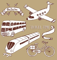 Traveling set with transport vector image vector image