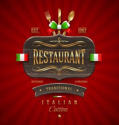 Vintage wooden sign for Italian restaurant vector image vector image