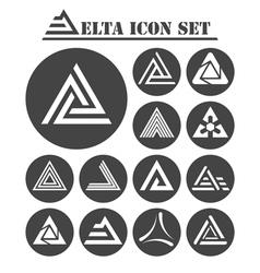 Delta letter icons set vector