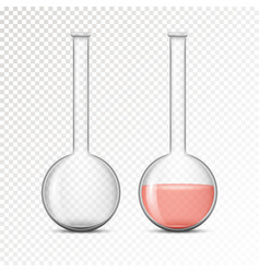 empty and filled flask for chemical lab vector image vector image