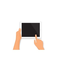 Human hands hold a tablet pc vector image vector image