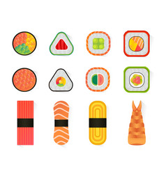 sushi and rolls set isolated on white vector image
