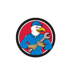 American Bald Eagle Mechanic Spanner Circle vector image vector image