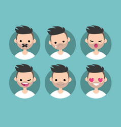 bearded young man profile pics set of flat vector image vector image