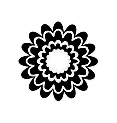 black silhouette with flower figure vector image