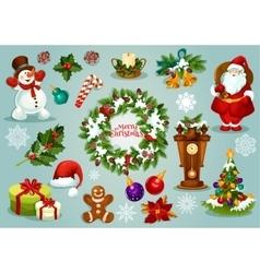 Christmas and New Year holiday cartoon icon set vector image