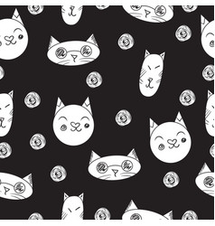 lovely cats seamless pattern black vector image vector image