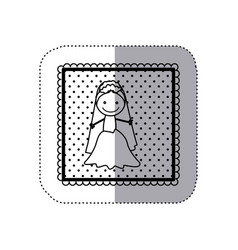 monochrome sticker in square frame and dotted with vector image