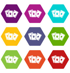 playing cards icon set color hexahedron vector image vector image