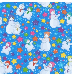 Seamless Christmas background with snowmen vector image