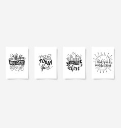 set of four hand lettering posters positive quote vector image vector image
