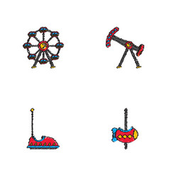 amusement park icons in hatching style vector image