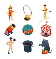 circus icon set people animals magician show vector image vector image