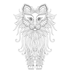Fluffy Cat in zentangle style Freehand sketch for vector image vector image