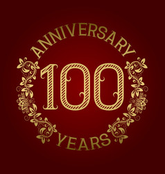 golden emblem of hundredth anniversary vector image vector image