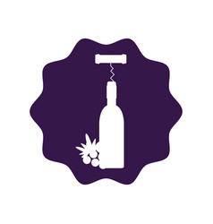 Sticker wine bottle with grape fruit and corkscrew vector