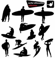 surfer silhouettes collection vector image vector image