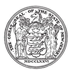 the great seal of the state of new jersey vintage vector image vector image