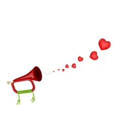 A musical bugle blowing a lovely heart vector