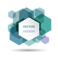 Abstract green and purple hexagon banner vector