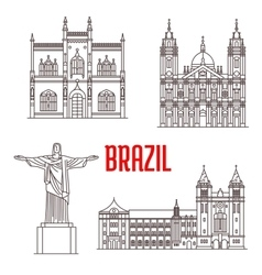 Architecture travel landmarks of Brazil vector