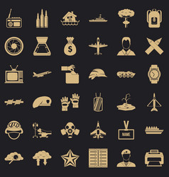 Armed force icons set simple style vector