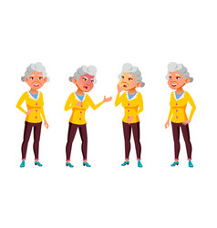 asian old woman poses set elderly people vector image